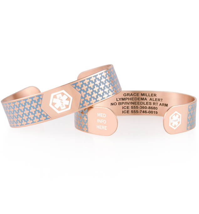 Decorative rose gold tone with blue medical ID cuff with white medical symbol stacked