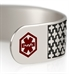 Silver tone medical ID cuff with decorative pattern and red medical caduceus symbol