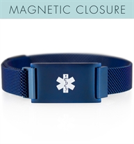 Front of blue-tone stainless Cam Magnetic Alert bracelet with mesh chain, magnetic closure, affixed ID tag with white caduceus
