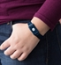 The blue-tone stainless waterproof Cam Kids' Magnetic Med ID bracelet with mesh chain and slip-through magnetic closure