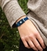 The blue-tone stainless waterproof Urban Medical Alert with mesh chain and slip-through magnetic closure