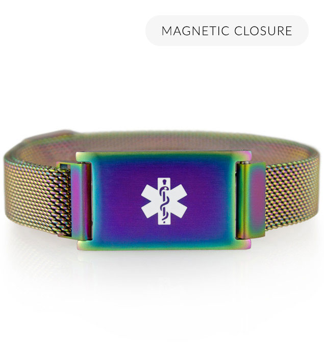 Adjustable medical ID bracelet with magnetic closure in oil slick, color changing finish and mesh band.