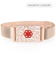 Rose gold mesh band and medical alert tag with floral pearl inlay and medical caduceus symbol