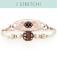 Rose gold beaded stretch medical ID bracelet with rose gold balis bead