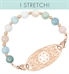 Rose gold and pastel beaded medical ID bracelet