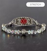 Silver beaded crystal stretch medical ID bracelet on slate