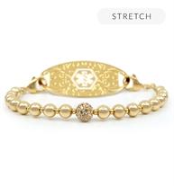 Gold tone beaded stretch medical ID bracelet
