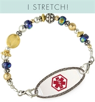 Gold and silver tone beaded stretch medical alert bracelet with I Stretch banner