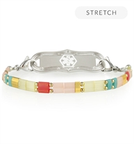 B652 - Brynn Stretch Bracelet with multi colored square beads and a silver medical ID tag with a white medical symbol