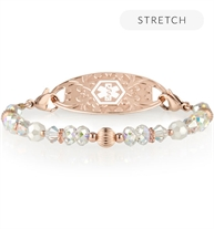 Krista Stretch Bracelet with rose gold beads and crystals and a rose gold tag with white medical ID symbol