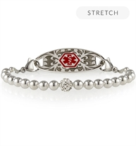 B654 - Olivia Stretch Bracelet with silver beads and red medical symbol