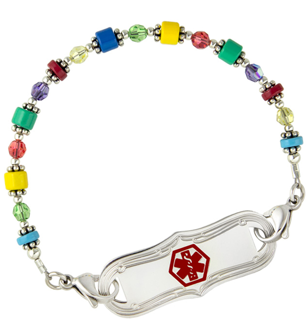 Medical alert bracelet with multicolor beads and interchangeable ID tag