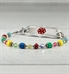 Beaded medical alert bracelet with multicolor beads and decorative ID tag