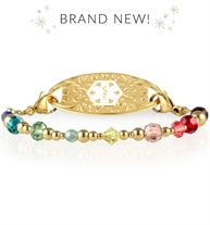 Interchangeable medical ID bracelet with rainbow crystal beads and gold finishes
