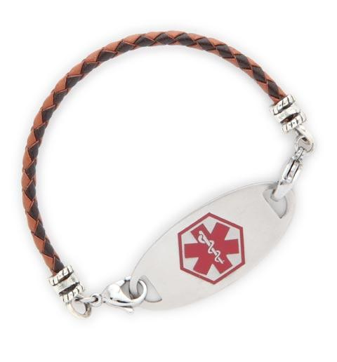 Dark Brown/Tan Bolo 3MM Medical ID Bracelet