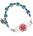 Color-changing mood beads with stainless steel and Blue Swarovski crystal accents interchangeable ID bracelet with stainless ID tag