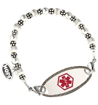Interchangeable bracelet made of round and smooth Sterling silver beads with sterling silver balis beads attached to stainless ID tag shown on white background
