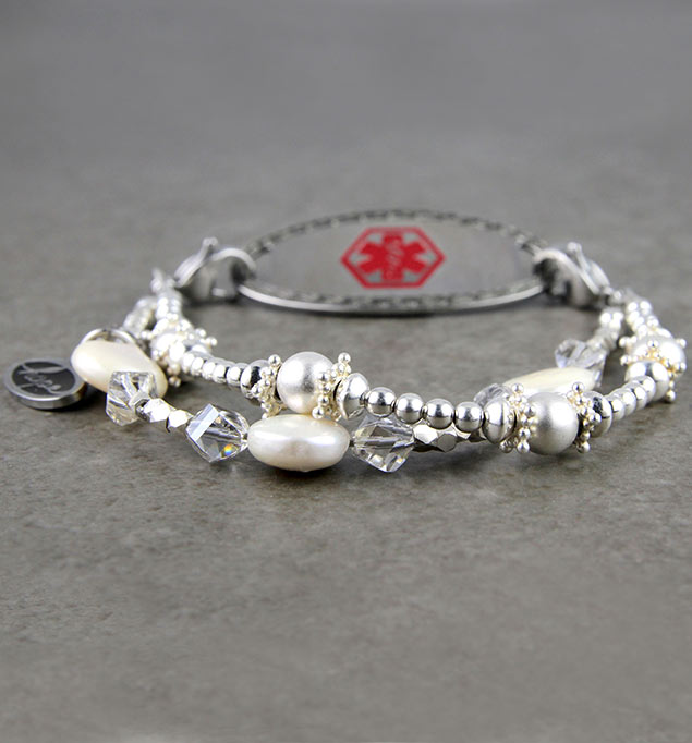 Shimmering Pearls Medical ID Bracelet