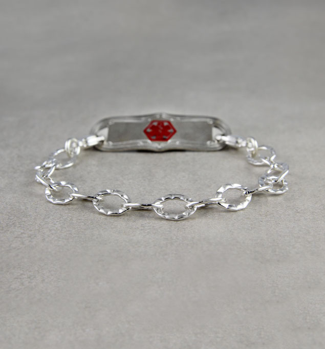 Small Sterling Silver Chain Medical ID Bracelet
