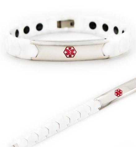 Ivory Ceramic Stainless Steel Alert Bracelet | Lauren's Hope