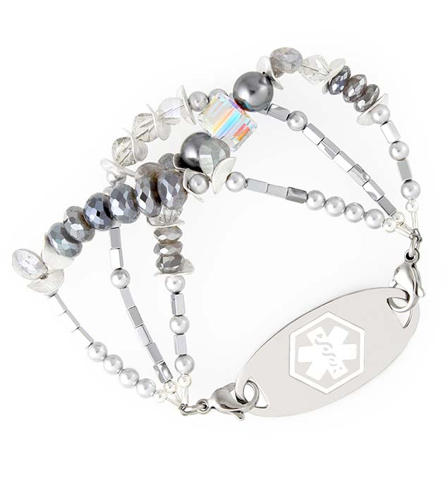 On the Plaza Medical ID Bracelet with Stainless White Oval Tag