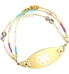 Leilani Medical ID Bracelet with Gold Tone White Oval Medical ID Tag