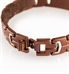 Maverick Medical ID Bracelet. Slip-through closure of a water-resistant stainless medical alert band with copper brown finish