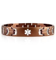 Brown stainless steel linked bracelet with white medical symbol in center of engravable plate.