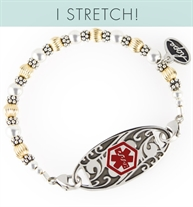 Stretch medical alert bracelet with gold and silver tone balis beads and mix & match ID tag