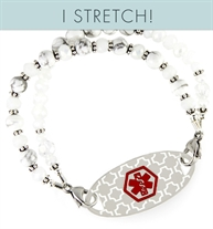 Marble patterned howlite beads on stretchy medical alert bracelet with engravable medical alert tag