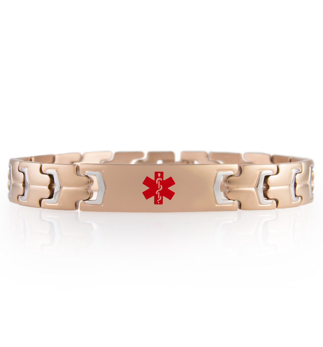 "Intrepid Medical ID Bracelet. Stainless rose tone link bracelet, non-interchangeable 1.5"" x .5"" med ID tag with red caduceus"