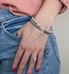 Girl wearing interchangelable bracelet made of Cubic zirconia dangle charm in sterling silver bezel Silver, Silver-fill, and crystal beads