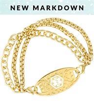 matte gold finish over brass multiple chain interchangeable bracelet shown with gold gardenia ID tag