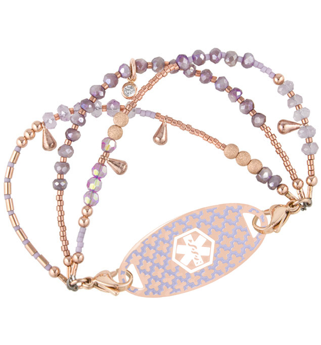 Lavender, amethyst, violet crystals, Moonstones and metallic beads with rose gold dipped elements with rose gold tone and lavendar ID tag