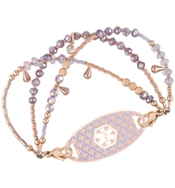 Three-strand rose gold tone beaded bracelet with pastel crystals and matching lavender and rose med alert tag