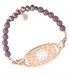Single strand bracelet made of Rose gold and Lilac beads with purple crystals and a Cubic zirconia mini charm attached to rose gold gardenia medical ID tag