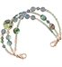 Abalone, quartz, and crystal beaded interchangeable bracelet with rose gold accents shown on white background