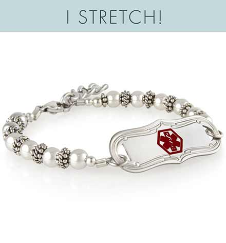 White pearl medical bracelet with decorative medical ID tag