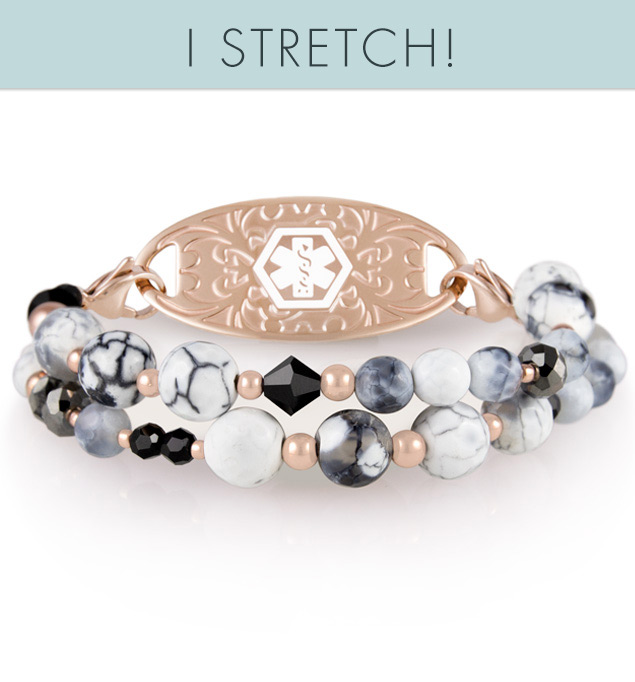 Medical ID bracelet with rose gold accents and marbleized agate beads