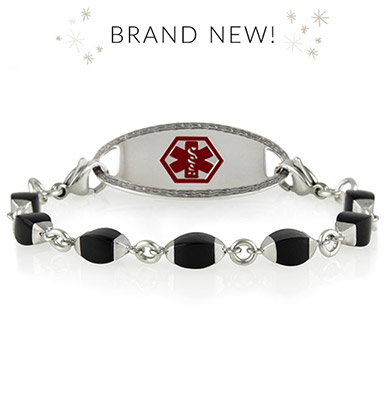Sterling silver-leafed with marquis black onyx stone medical ID bracelet with decorative ID tag