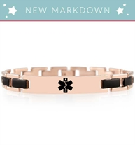 Rose gold linked medical ID with black accents and black medical caduceus symbol