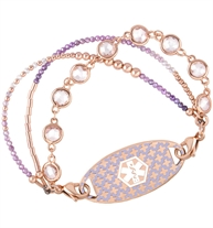 Lavender and rose gold beaded medical ID bracelet with three strands and rose gold medical ID tag