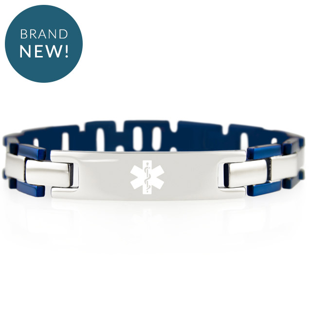 Linked medical ID bracelet with silver tone and blue accents with white medical symbol