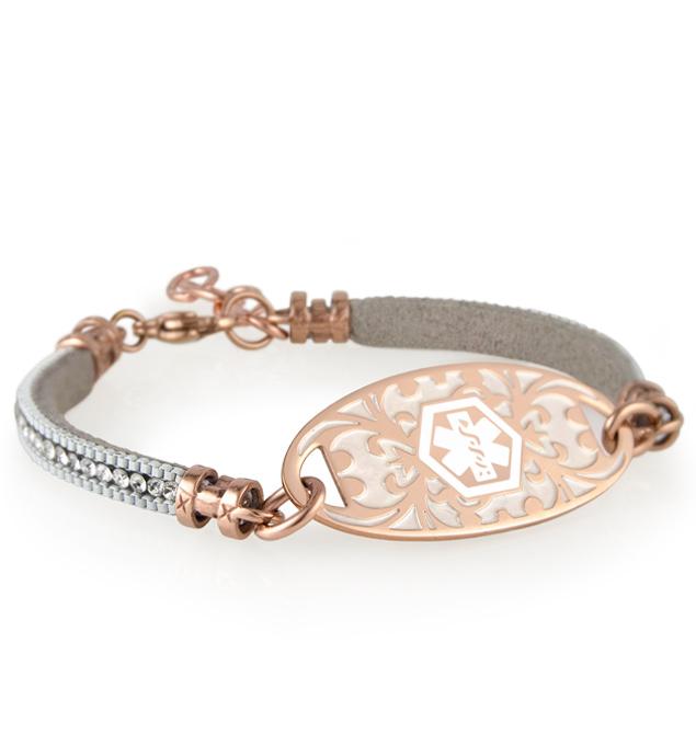 Rose gold and silver adjustable medical ID bracelet