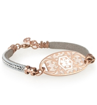 Rose gold and silver adjustable medical ID bracelet