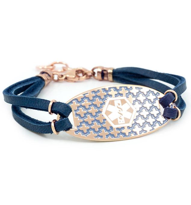 Rose gold and blue adjustable medical ID bracelet