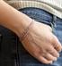 Woman wearing rose gold and lavender medical alert beaded bracelet