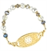 C485 - Hailey Bracelet multi colored beads and crystals with gold medical ID tag with a white medical ID symbol