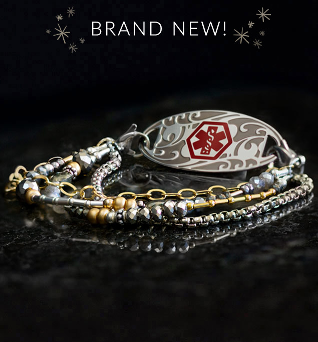 Beaded medical alert bracelet with gold and silver bead accents on dark slate