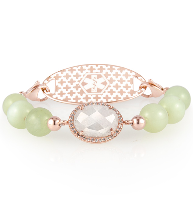 Pearl centerpiece on beaded medical alert bracelet with chunky jade beads
